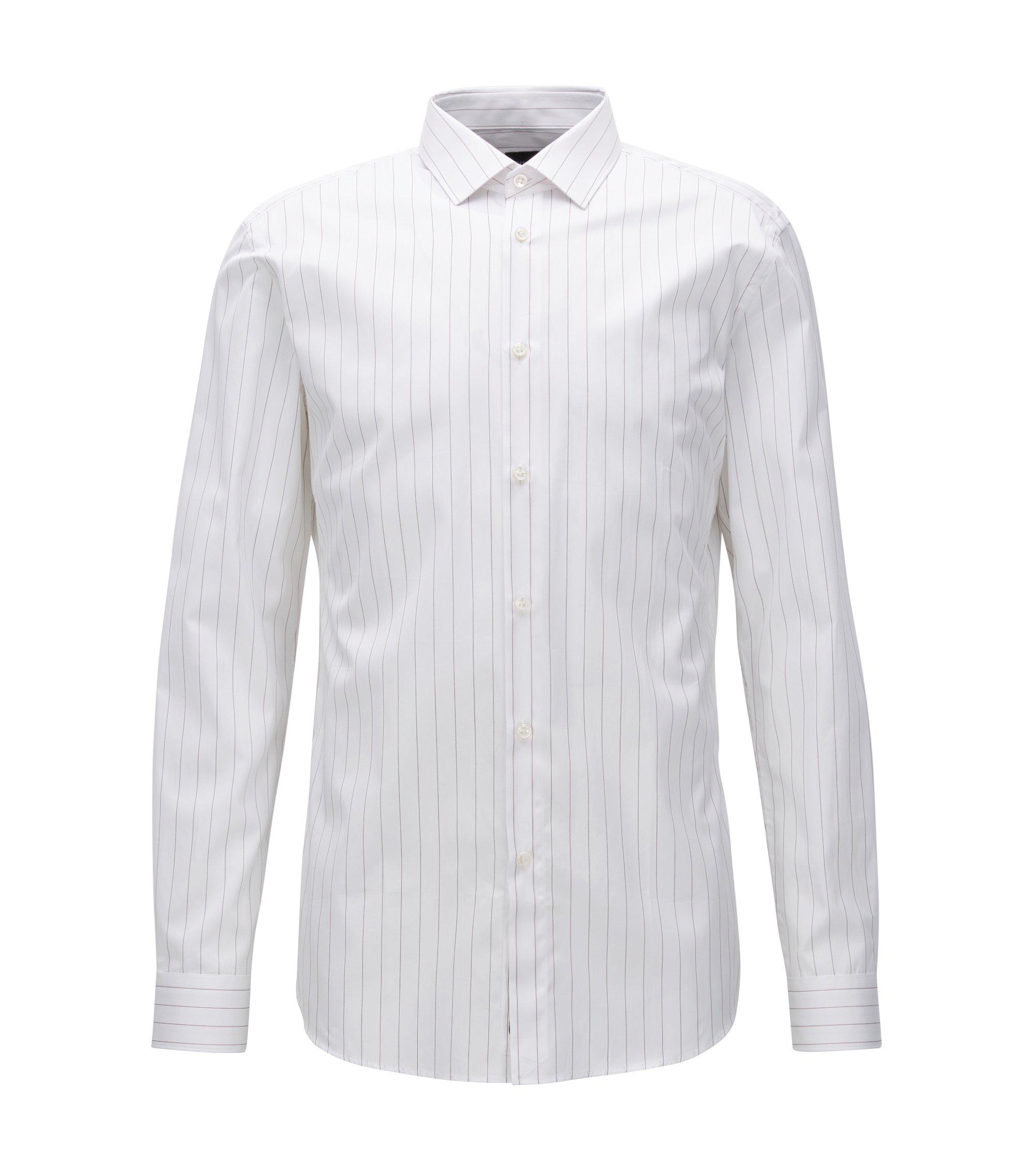 Chemise Slim Fit en popeline de coton à rayures tennis, Blanc