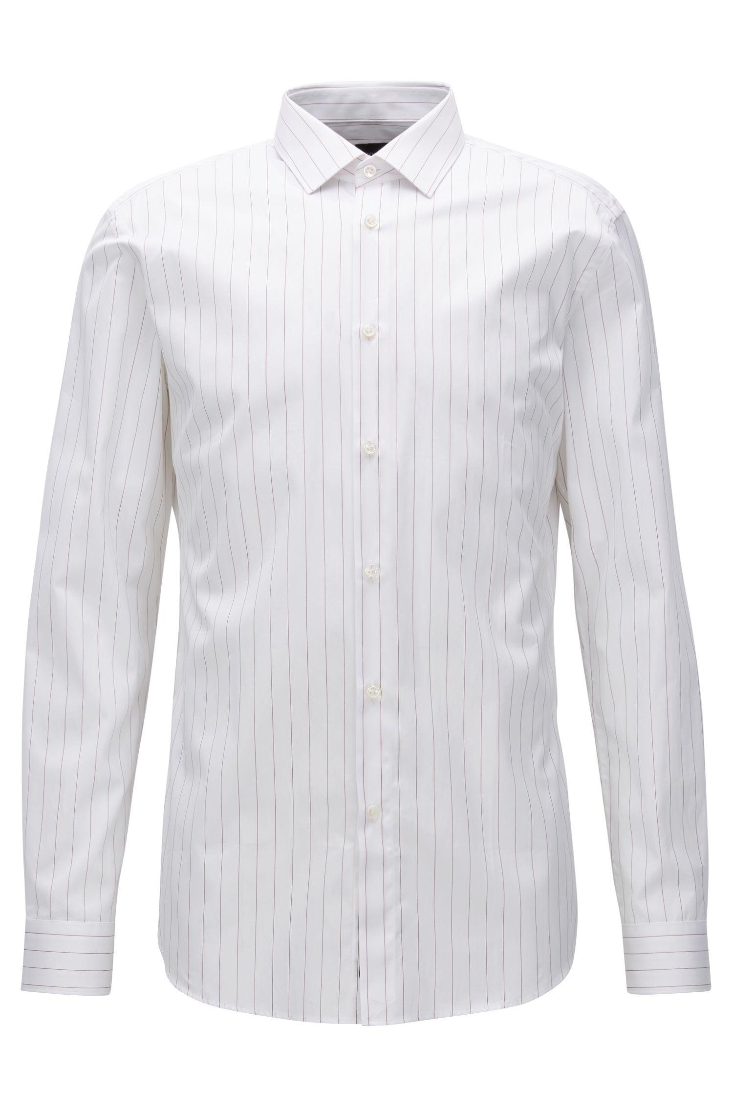 Camisa slim fit en popelín de algodón con raya diplomática
