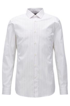Camicia slim fit in popeline di cotone gessato, Bianco