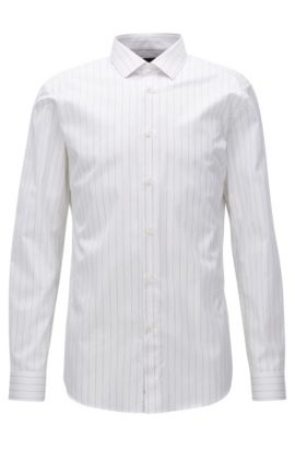 Slim-fit shirt in pinstripe cotton poplin, Open White