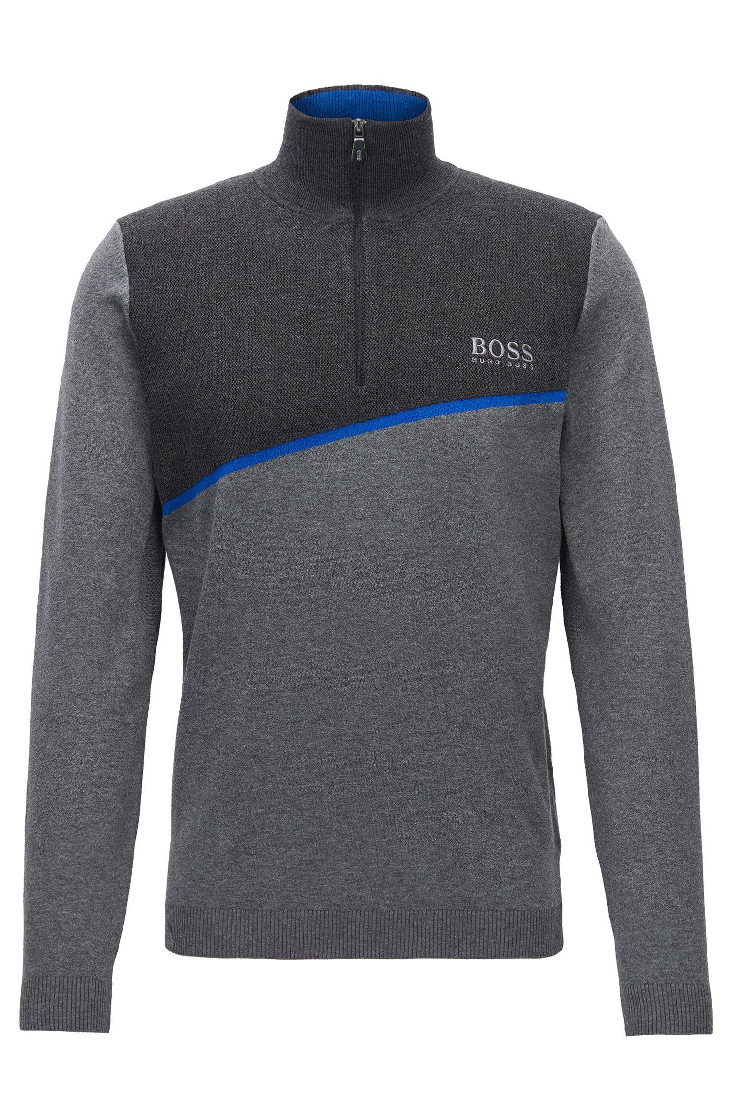 Regular-Fit Pullover aus elastischem Baumwoll-Mix mit Reißverschluss