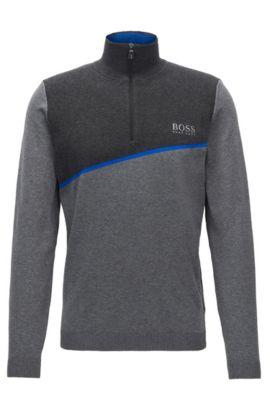 Regular-Fit Pullover aus elastischem Baumwoll-Mix mit Reißverschluss, Grau