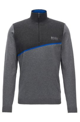 Zip-neck sweater in a cotton blend, Grey