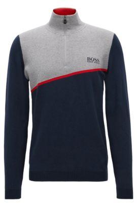 Regular-Fit Pullover aus elastischem Baumwoll-Mix mit Reißverschluss, Dunkelblau