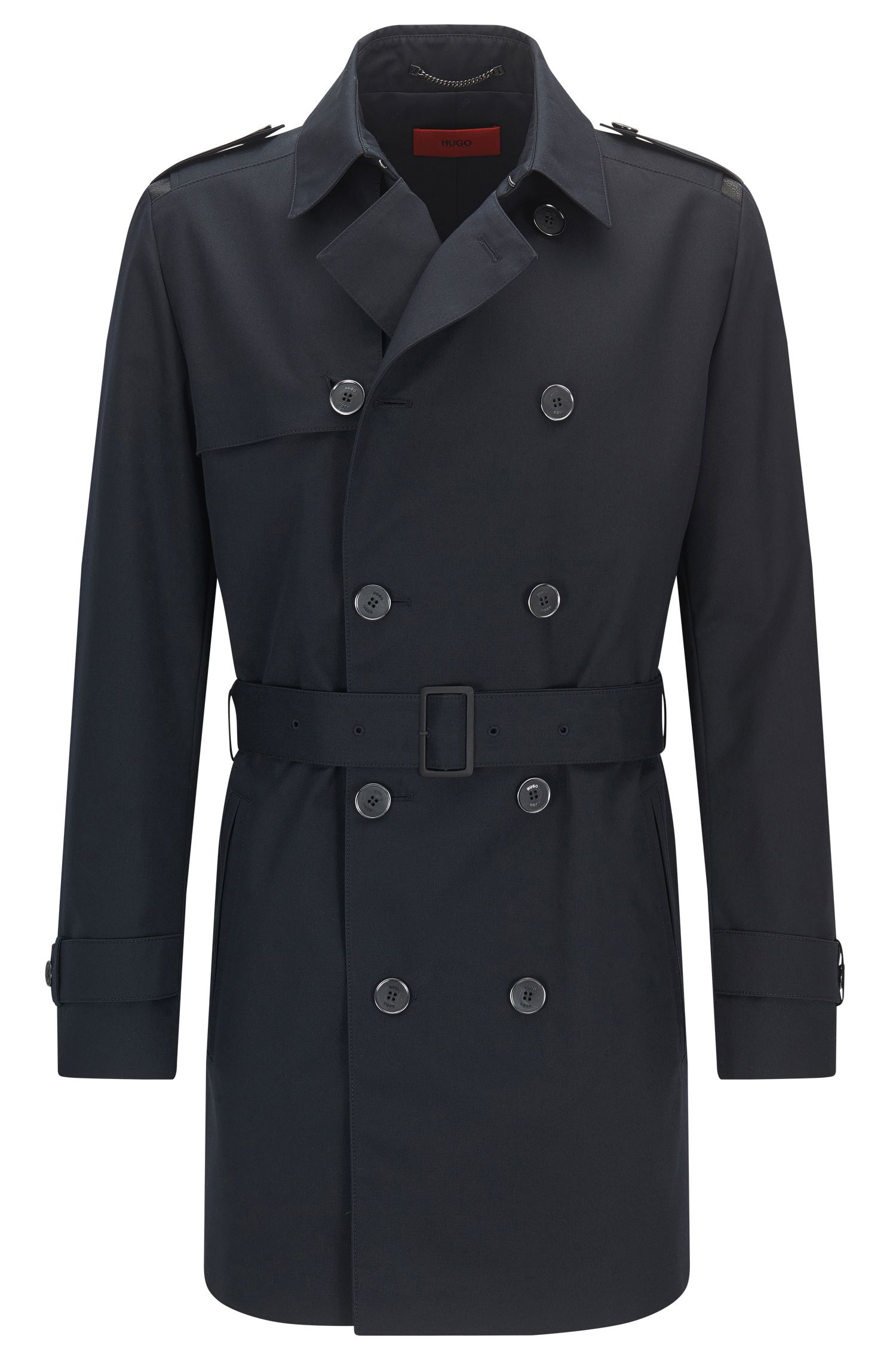Regular-fit trench coat in a technical blend