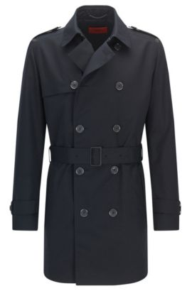 Regular-fit trench coat in a technical blend, Dark Blue