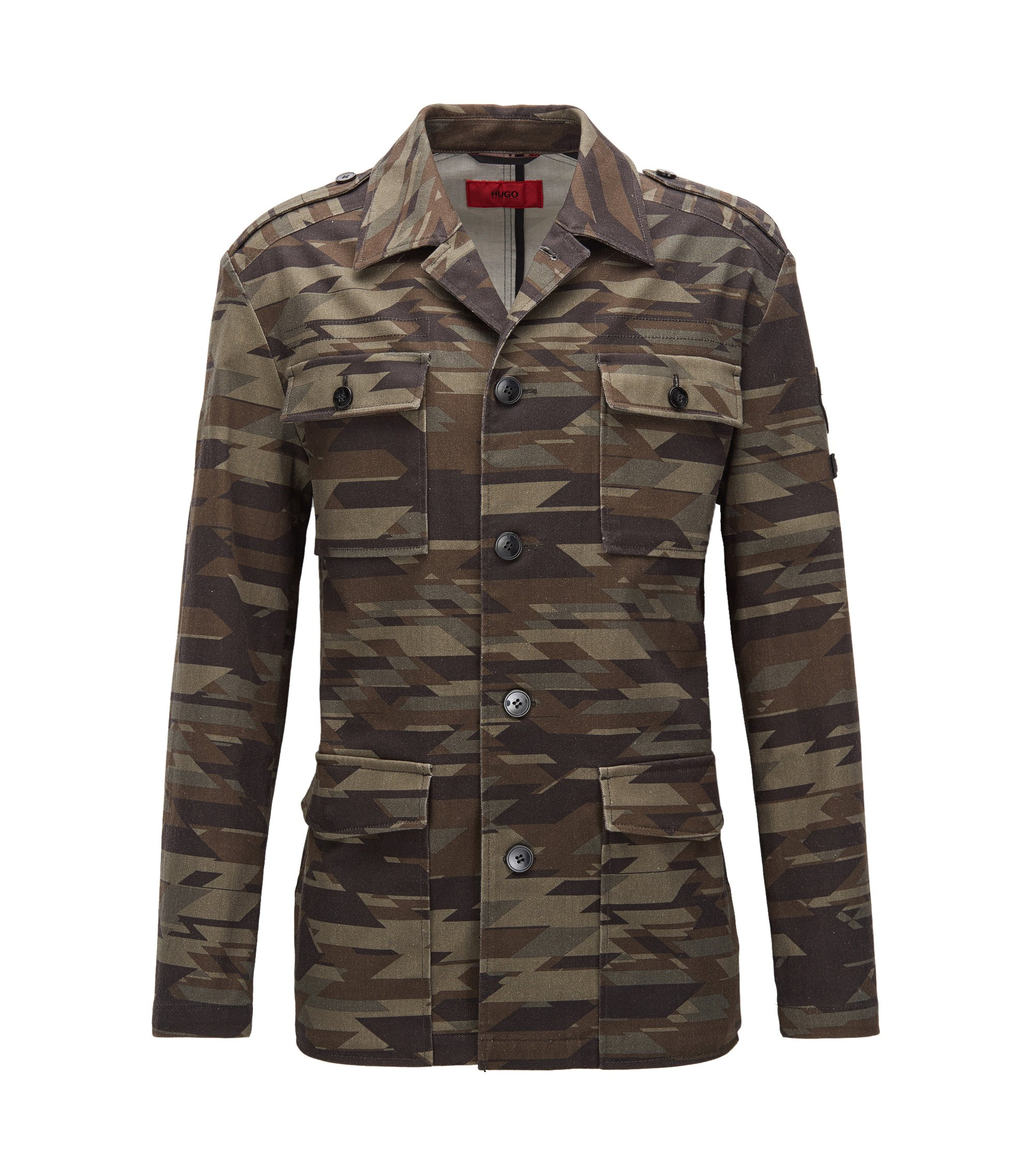 Regular-Fit-Jacke aus Stretch-Baumwolle im Army-Stil, Gemustert