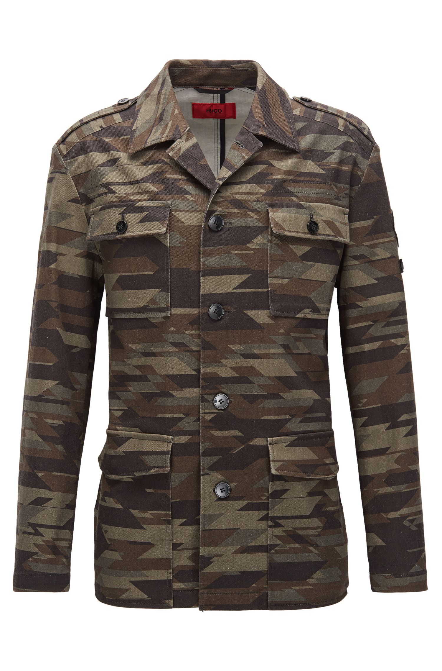 Veste style militaire Regular Fit à rayures en coton stretch