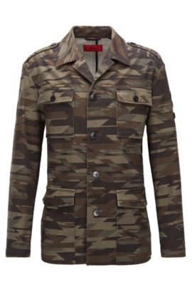 Veste style militaire Regular Fit à rayures en coton stretch, Fantaisie