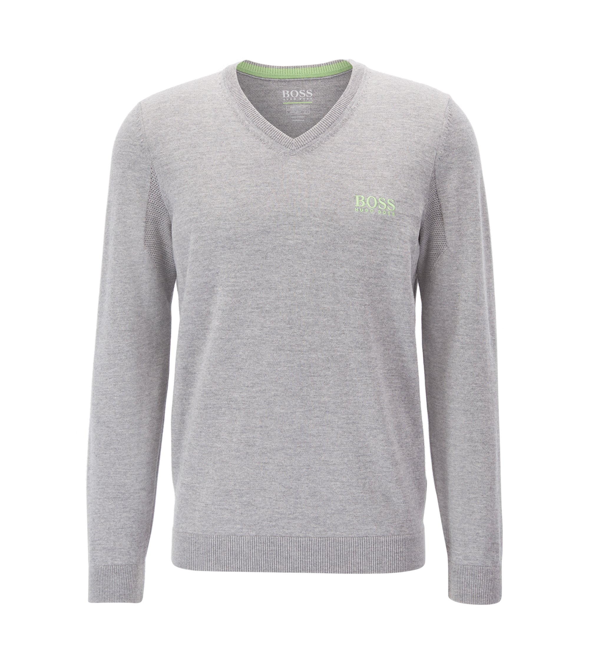 V-neck sweater in virgin wool, Light Grey