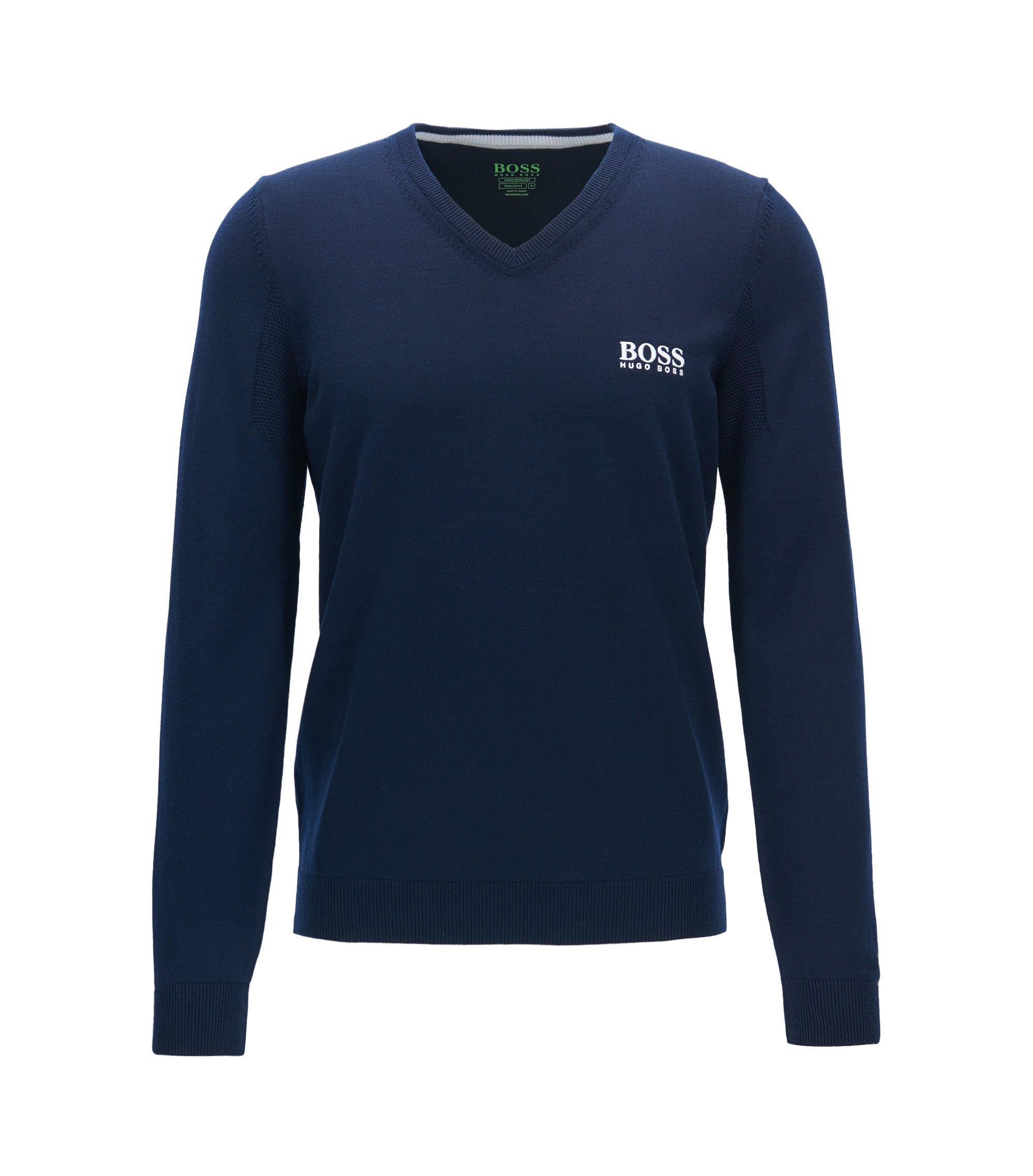 Maglione con scollo a V in lana vergine, Blu scuro