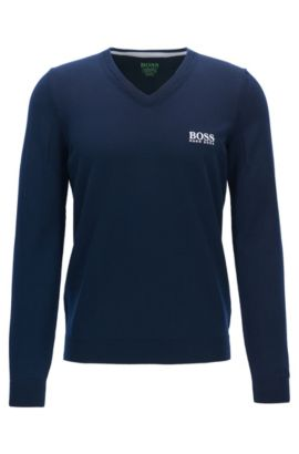 Jersey con cuello en pico de lana virgen, Azul oscuro