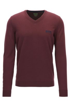V-neck sweater in virgin wool, Red