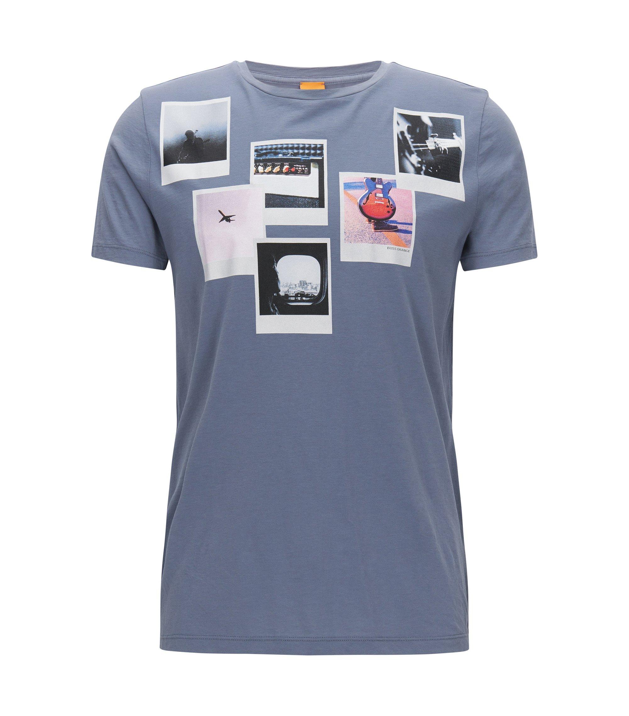 Regular-fit T-shirt van pimakatoen, Donkerblauw