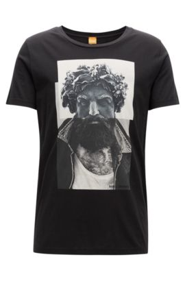 Regular-Fit T-Shirt aus Baumwolle mit Digitaldruck, Schwarz