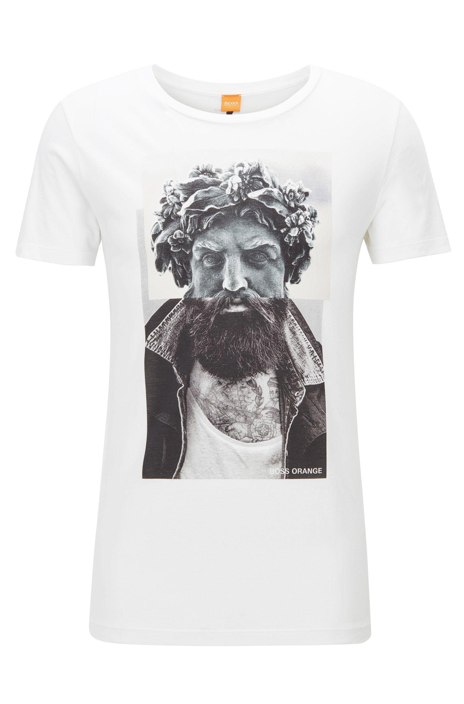 Digital-print cotton T-shirt in a regular fit