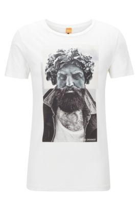 Regular-Fit T-Shirt aus Baumwolle mit Digitaldruck, Weiß