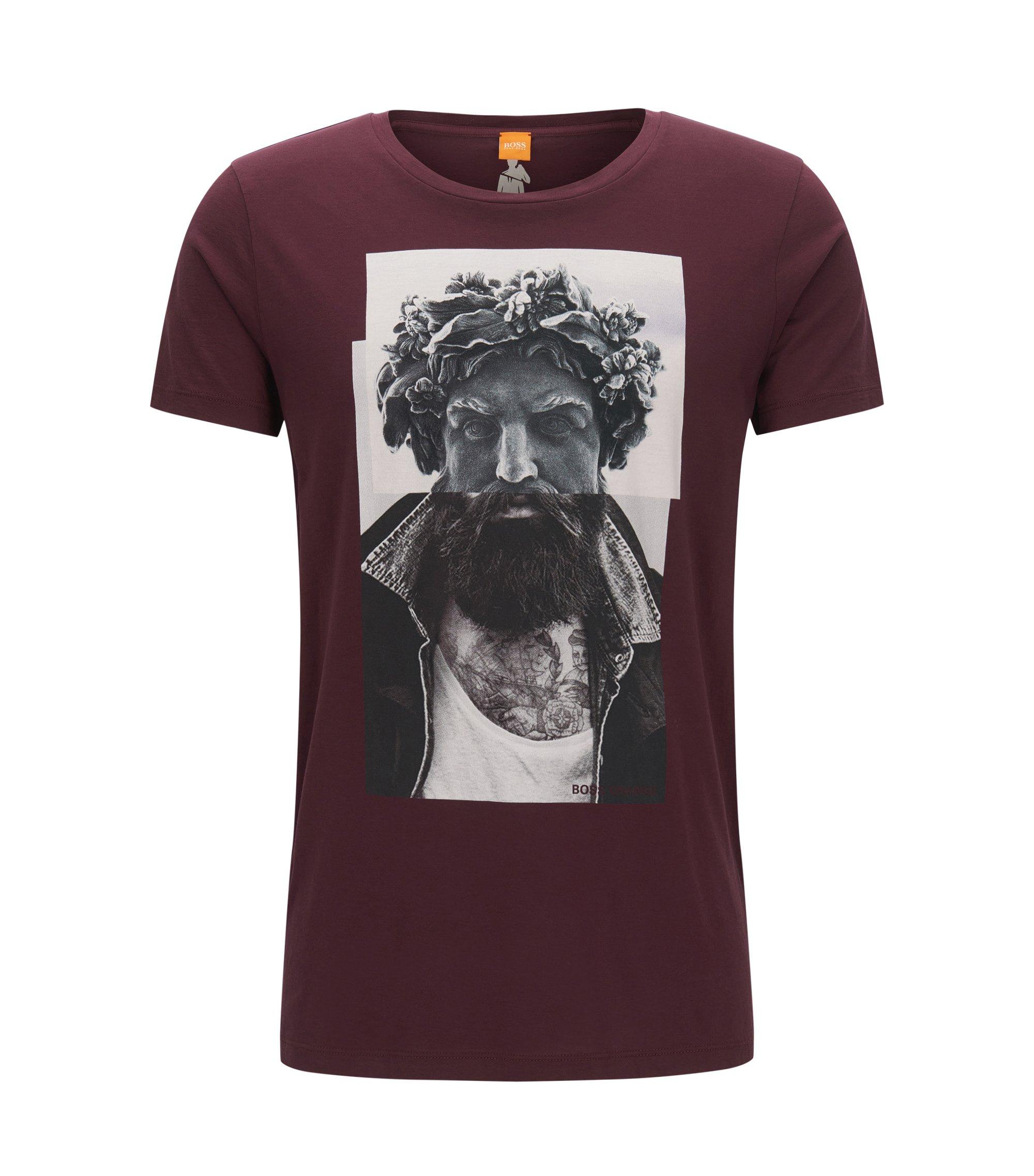 Regular-fit T-shirt van katoen met digitale print, Donkerrood