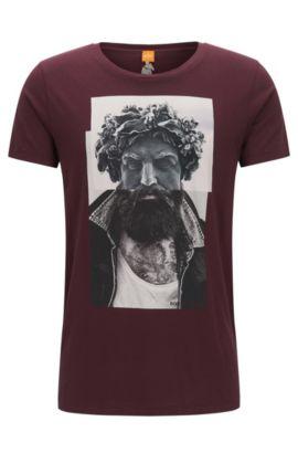 T-shirt Regular Fit en coton à imprimé numérique, Rouge sombre