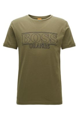 Camiseta regular fit en algodón, Verde oscuro