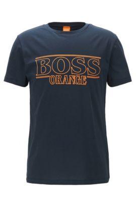 T-shirt regular fit in cotone, Blu scuro
