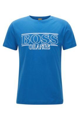 T-shirt regular fit in cotone, Blu