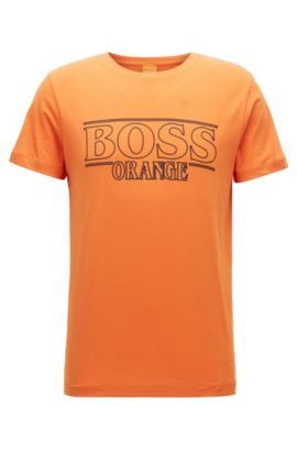 Regular-Fit T-Shirt aus reiner Baumwolle, Orange