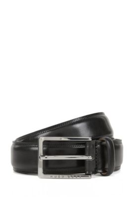 Vegetable-tanned leather belt with contrast edges , Black