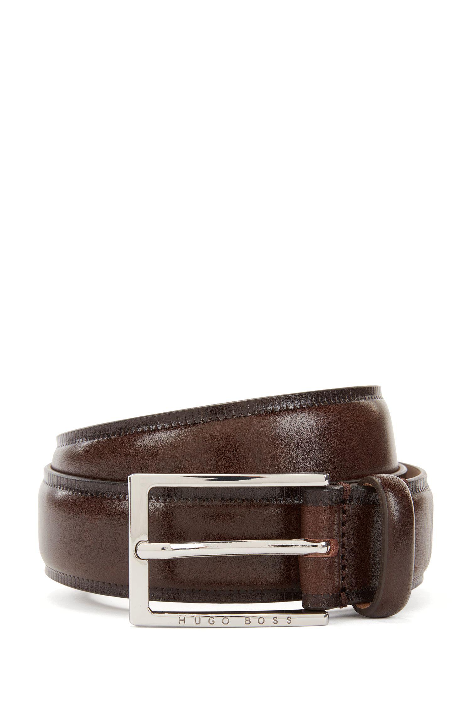 Cinturón de piel de curtido vegetal con bordes contrastados
