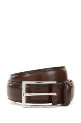 Vegetable-tanned leather belt with contrast edges , Dark Brown