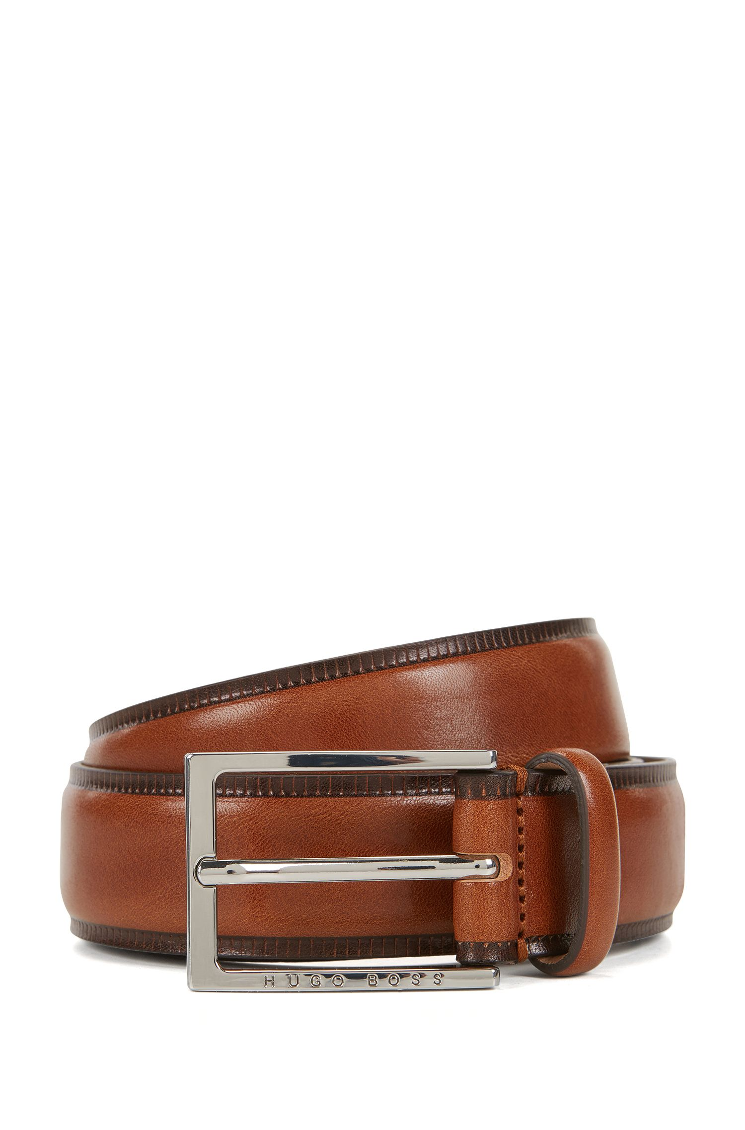 Vegetable-tanned leather belt with contrast edges
