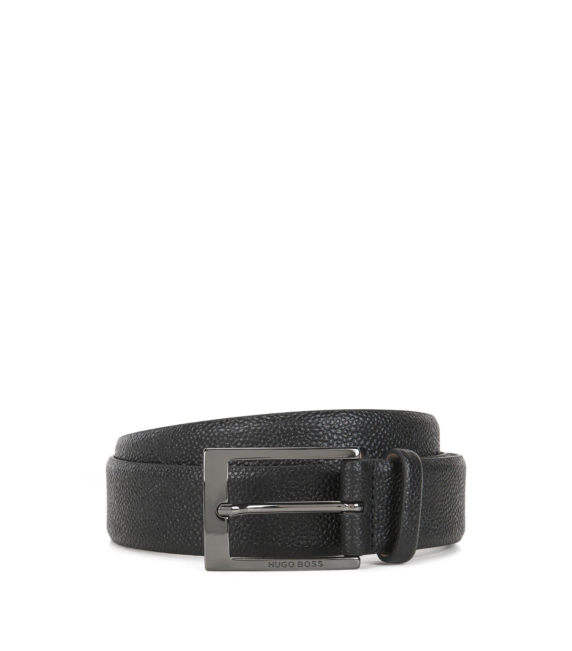 Gürtel aus geprägtem Leder mit Innenseite aus Nubukleder, Schwarz