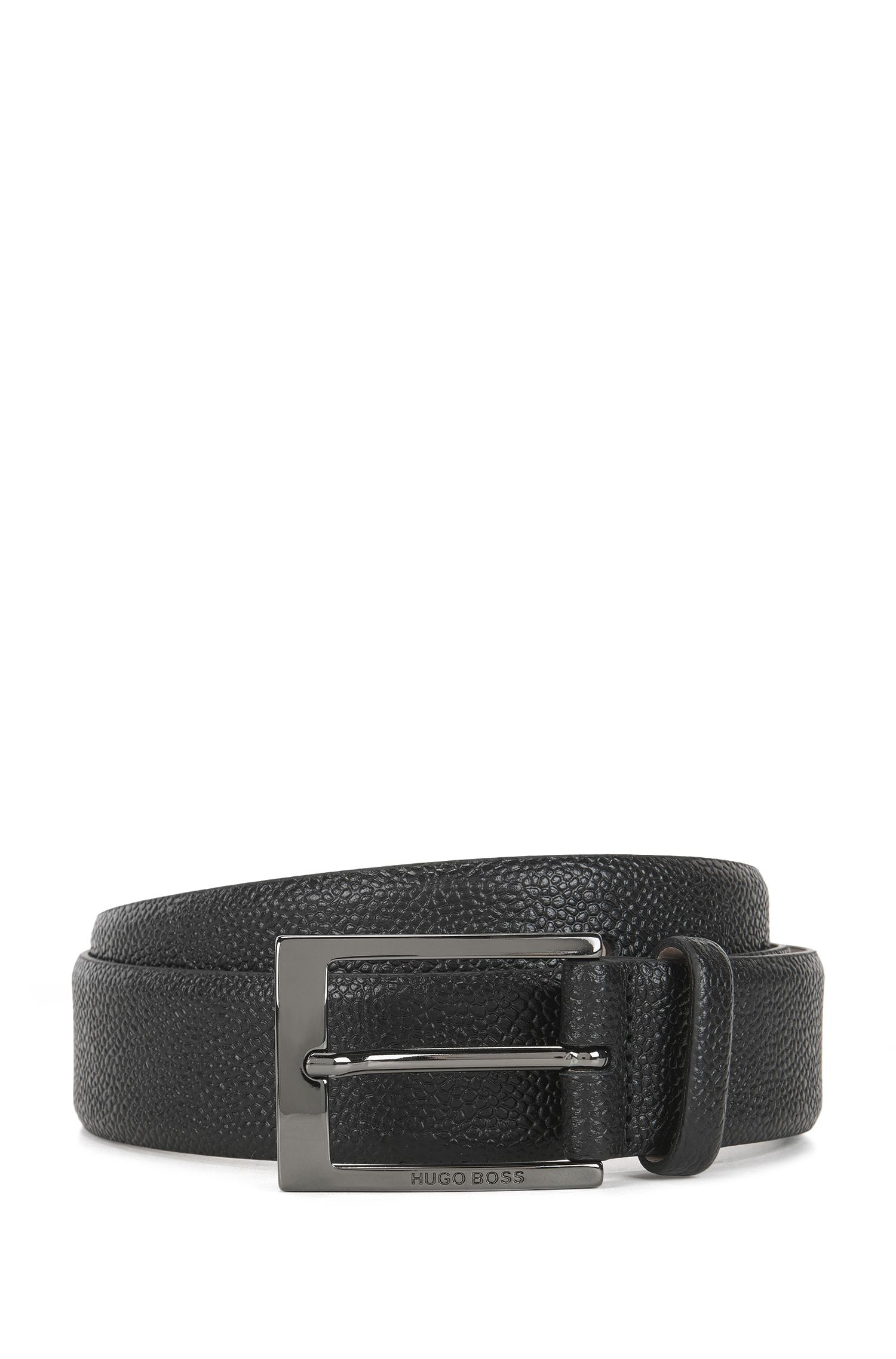 Grainy printed leather belt with nubuck lining