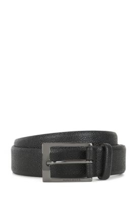 Grainy printed leather belt with nubuck lining, Black