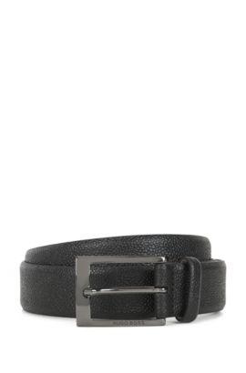 Cinturón de piel con estampado granulado y forro interior de nobuk, Negro