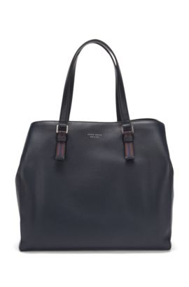 Tote bag in Italian leather, Dark Blue