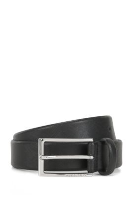 Business belt in Saffiano leather, Black