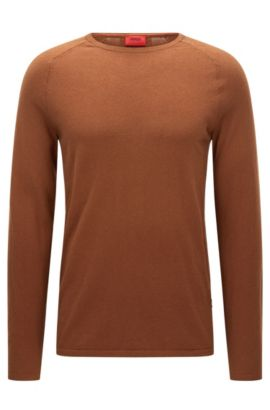 Crew neck sweater in a cotton blend, Brown