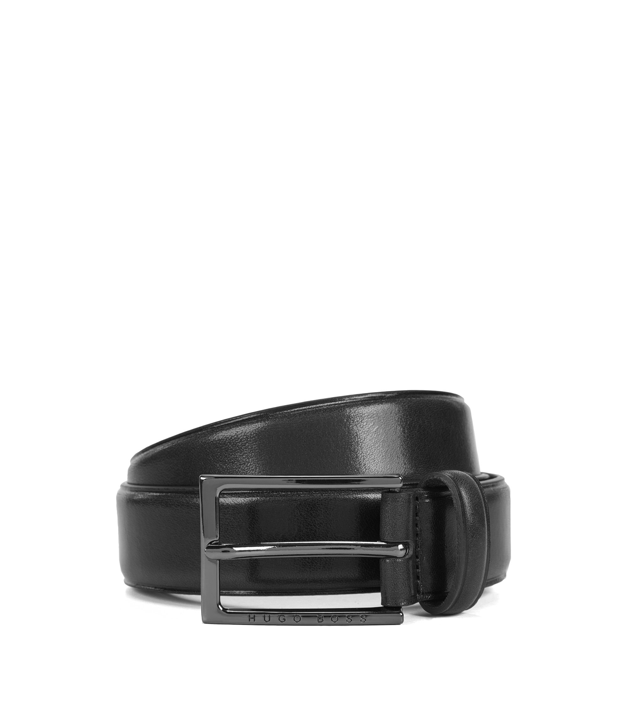Business belt in vegetable-tanned leather, Black