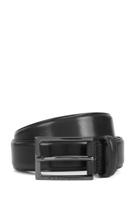 Business belt in vegetable-tanned leather, Black