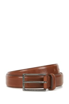Business belt in vegetable-tanned leather, Brown