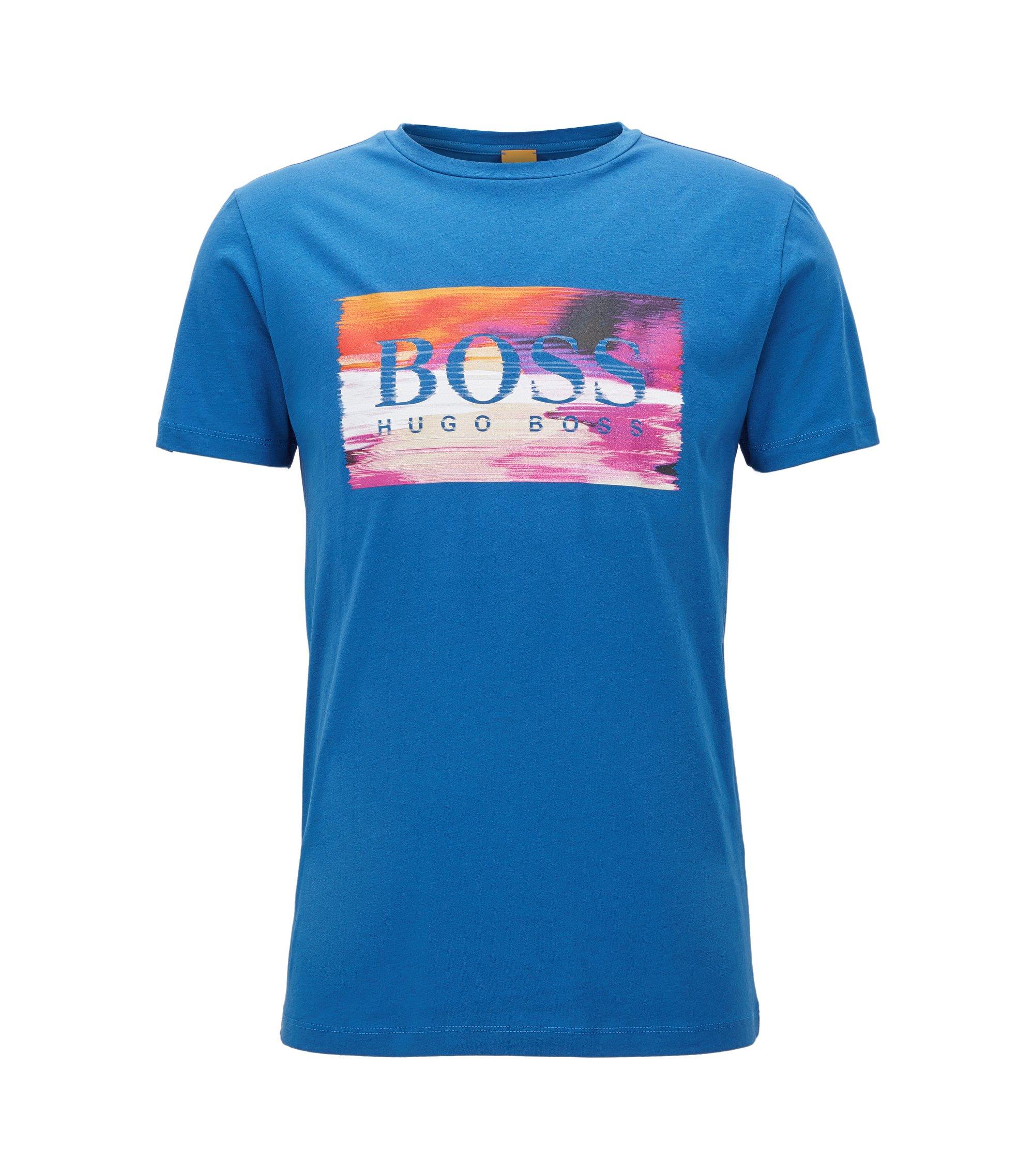 T-shirt regular fit in jersey, Blu
