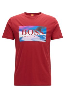 Regular-Fit T-Shirt aus Single Jersey, Rot