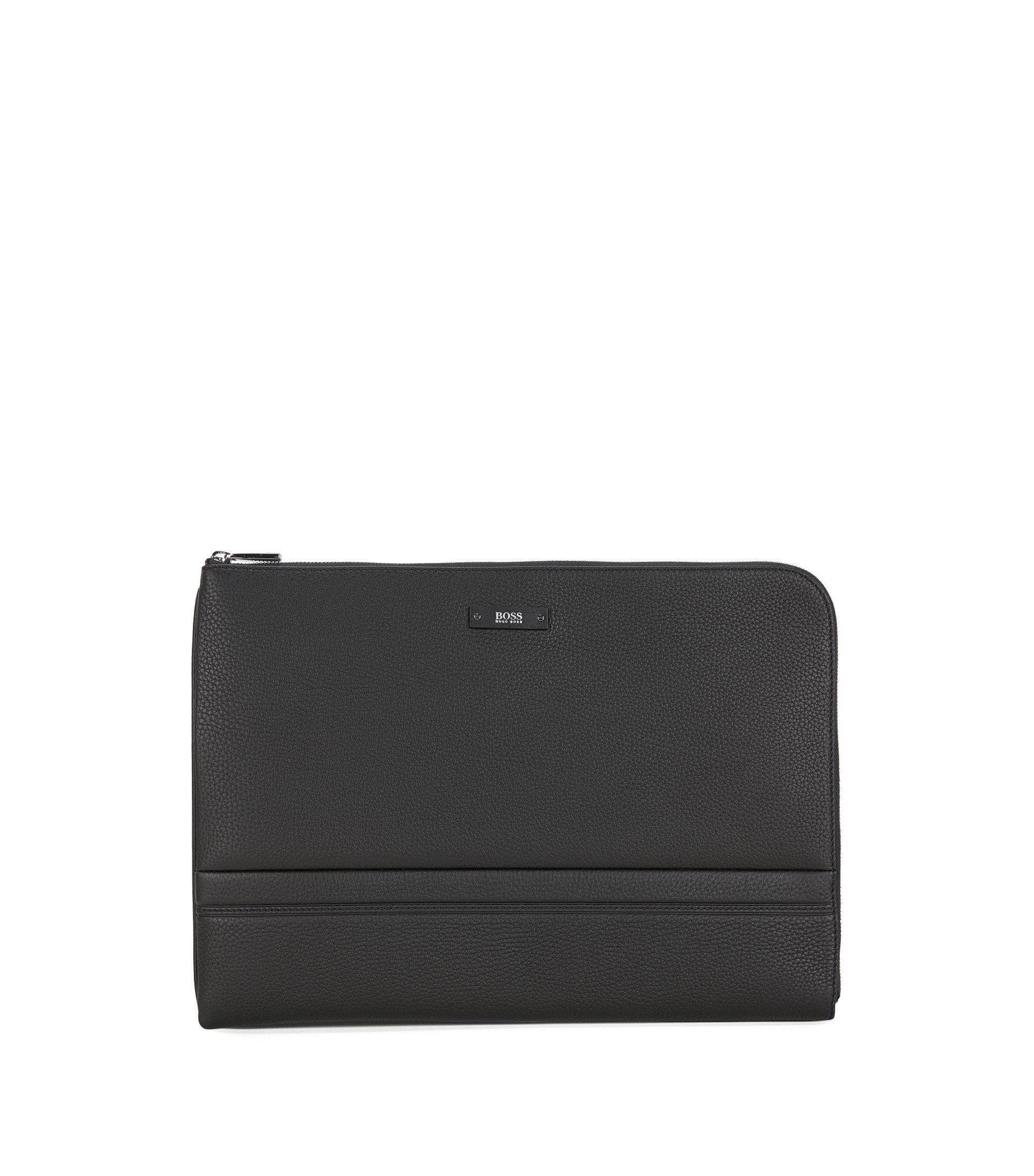 Portfolio case in grained leather, Negro