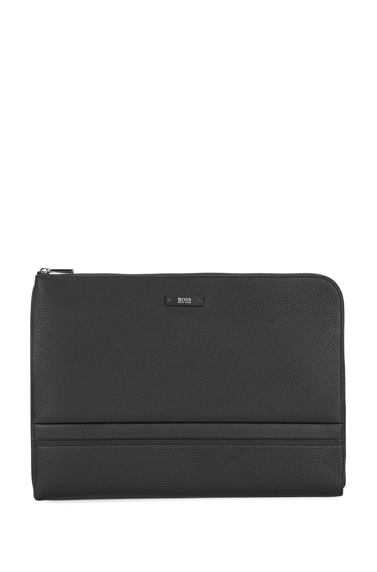 Portfolio case in grained leather