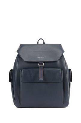 Strukturierter Rucksack aus italienischem Leder, Dunkelblau