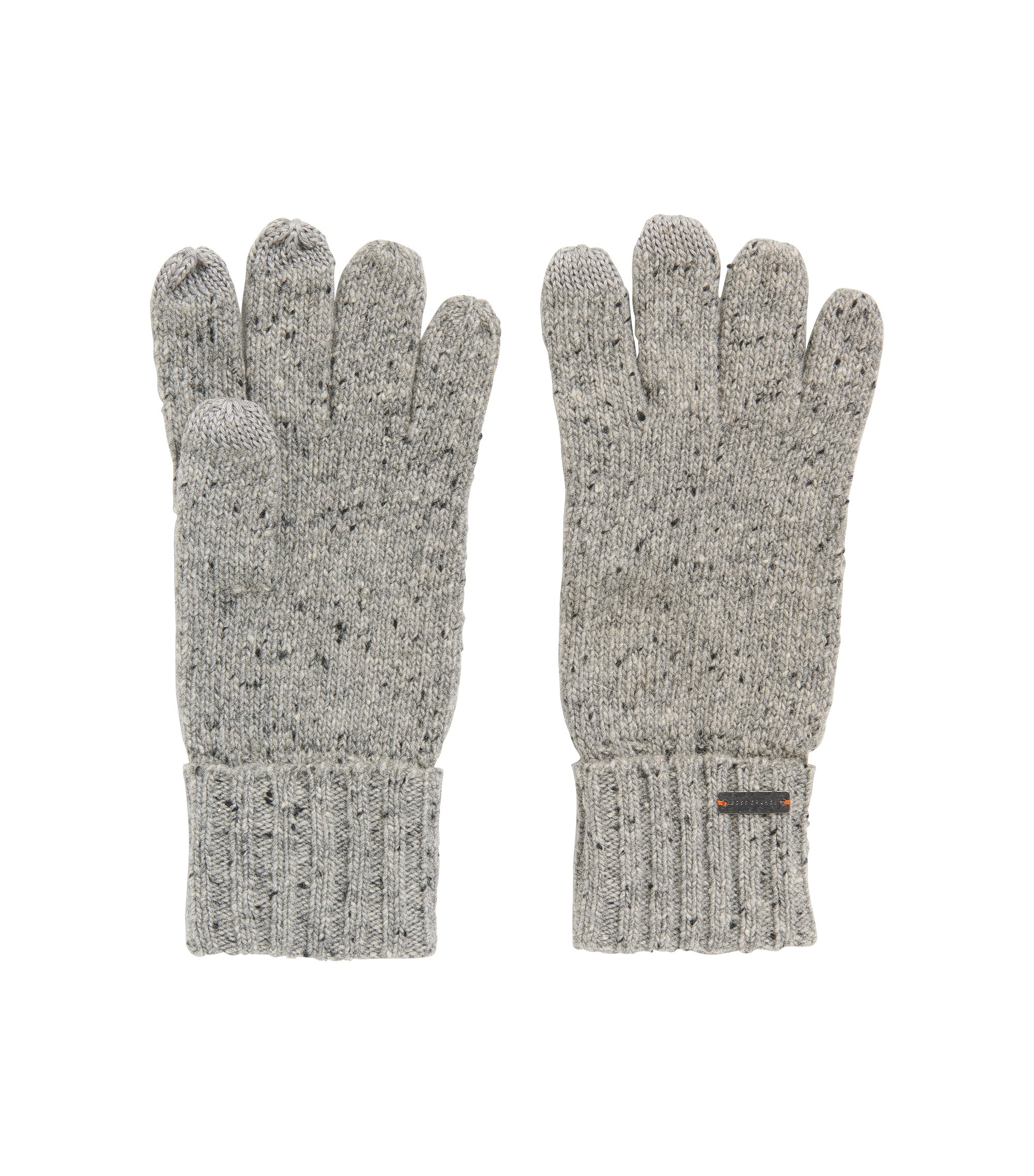 Wool-blend gloves with touchscreen functionality, Grey