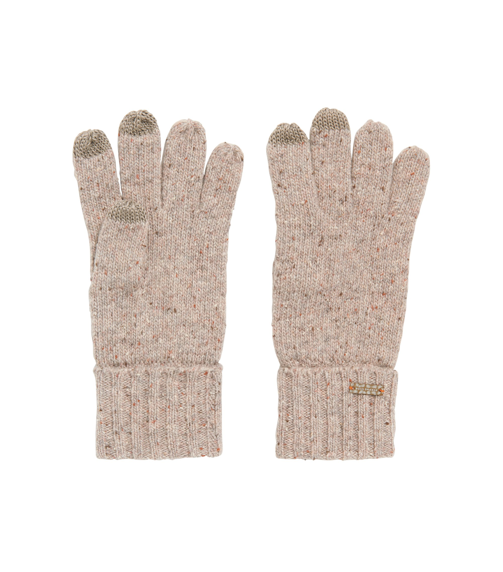 Wool-blend gloves with touchscreen functionality, Natural
