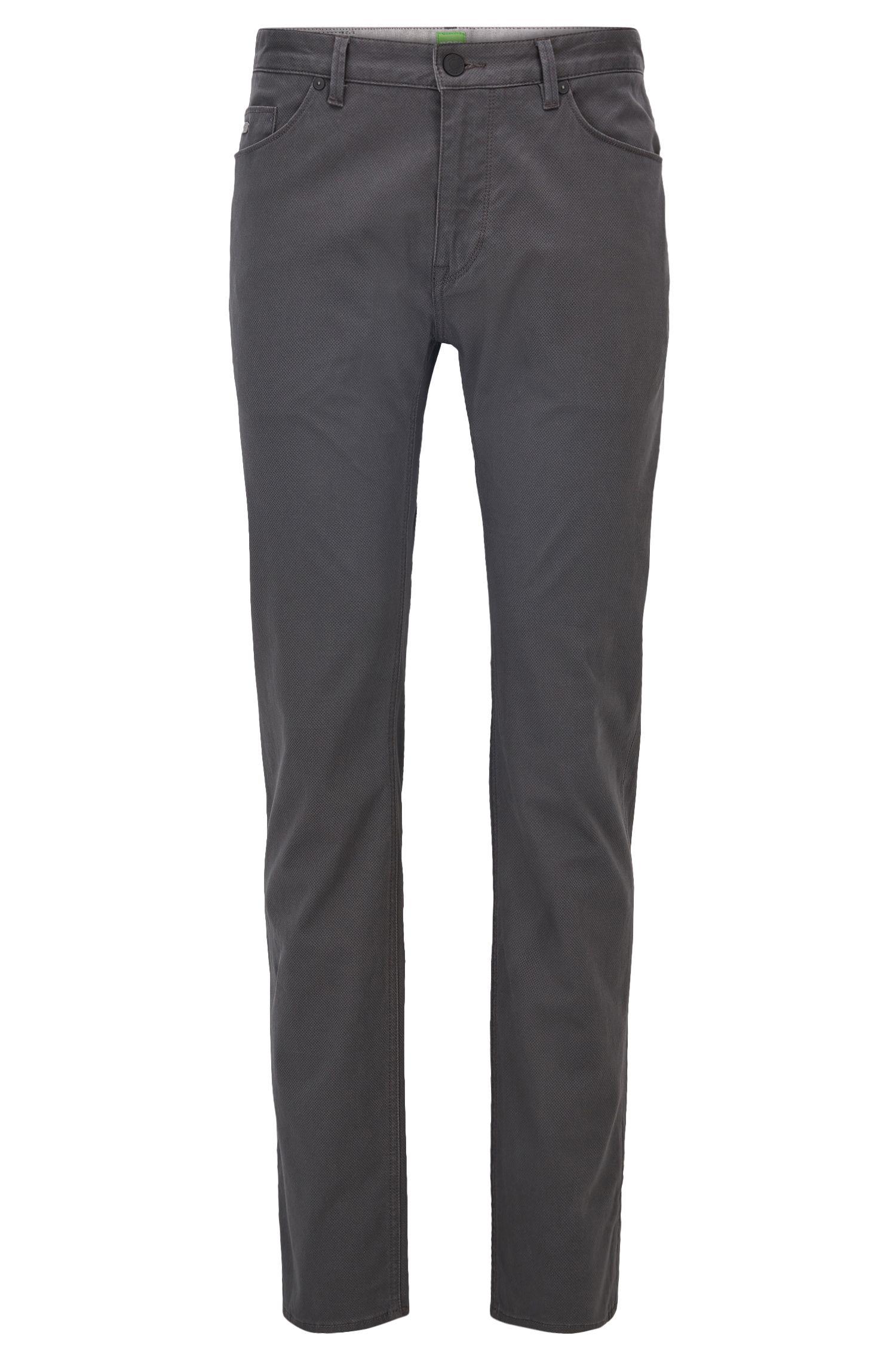 Jeans regular fit in denim stampato spazzolato