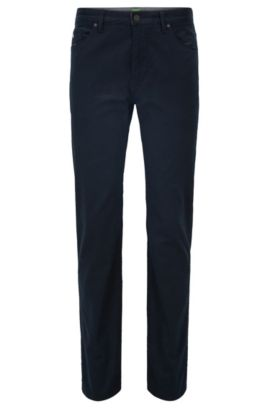 Regular-fit jeans in printed brushed denim, Dark Blue